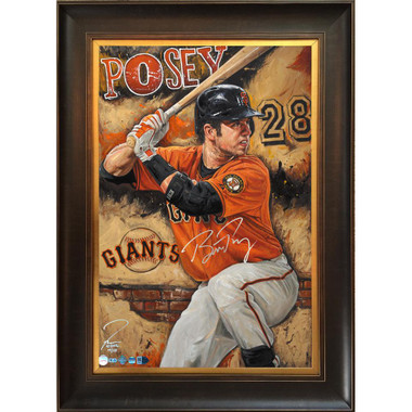 Buster Posey 'The Rock' Autographed Limited Edition of 28 Framed 24 x 36 Canvas Giclee (Justyn Farano)