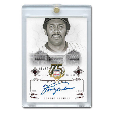 Fergie Jenkins Autographed Card 2014 Panini Cooperstown HOF 75th Anniversary Red # 23 Ltd Ed of 50