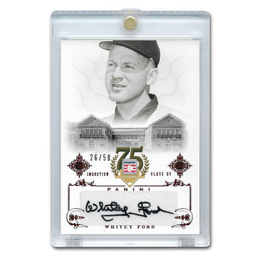Whitey Ford Autographed Card 2014 Panini Cooperstown HOF 75th Anniversary Red # 100 Ltd Ed of 50