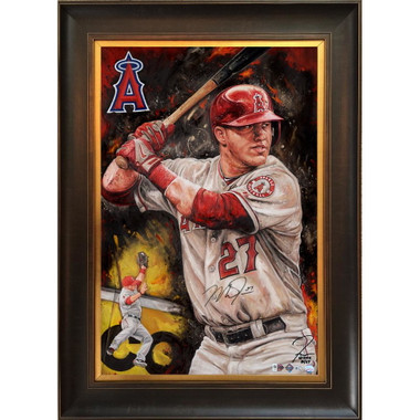 Mike Trout 'Catch Of The Day' Autographed Limited Edition of 27 Framed 24 x 36 Canvas Giclee (Justyn Farano)