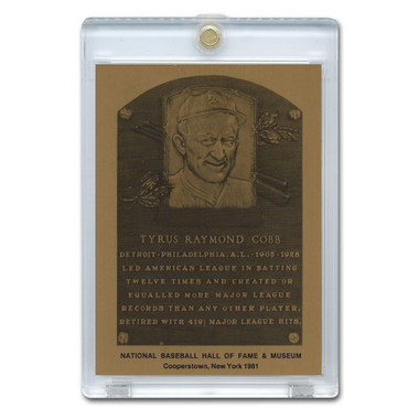 Ty Cobb 1981 Hall of Fame Metallic Plaque Card