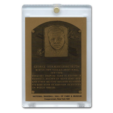 Babe Ruth 1981 Hall of Fame Metallic Plaque Card