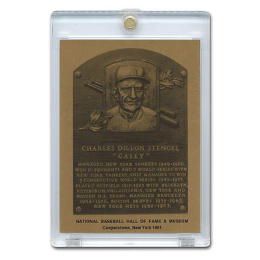 Casey Stengel 1981 Hall of Fame Metallic Plaque Card