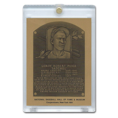 Satchel Paige 1981 Hall of Fame Metallic Plaque Card