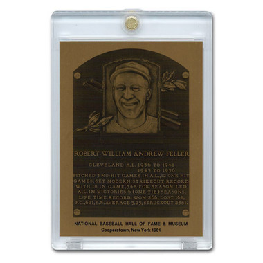 Bob Feller 1981 Hall of Fame Metallic Plaque Card