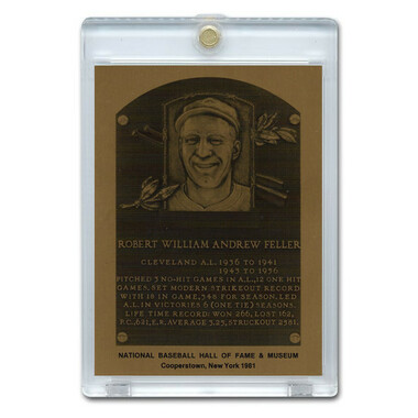 Bob Feller 1981 Hall of Fame Metallic Plaque Card