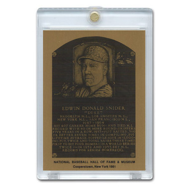 Duke Snider 1981 Hall of Fame Metallic Plaque Card