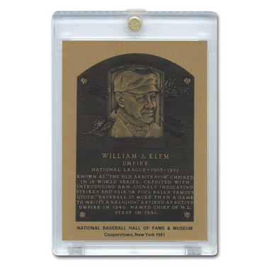 Bill Klem 1981 Hall of Fame Metallic Plaque Card