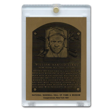 Bill Terry 1981 Hall of Fame Metallic Plaque Card