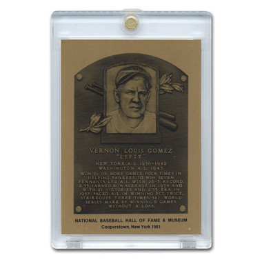 Lefty Gomez 1981 Hall of Fame Metallic Plaque Card