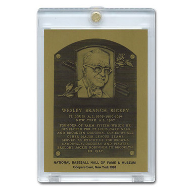 Branch Rickey 1981 Hall of Fame Metallic Plaque Card