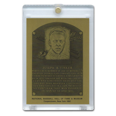Joe Tinker 1982 Hall of Fame Metallic Plaque Card