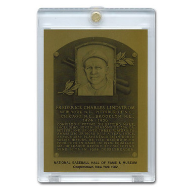 Fred Lindstrom 1982 Hall of Fame Metallic Plaque Card