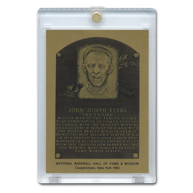 Johnny Evers 1982 Hall of Fame Metallic Plaque Card