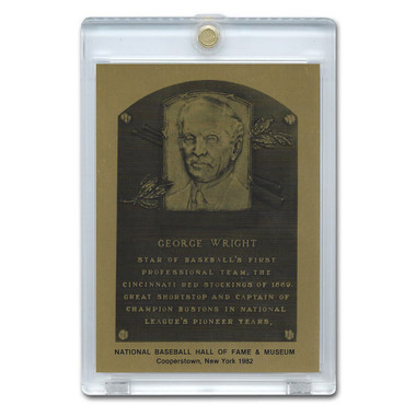 George Wright 1982 Hall of Fame Metallic Plaque Card