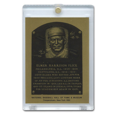 Elmer Flick 1982 Hall of Fame Metallic Plaque Card