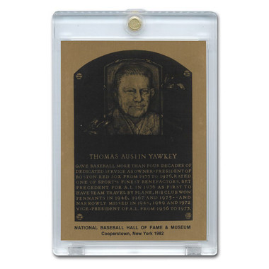 Tom Yawkey 1982 Hall of Fame Metallic Plaque Card