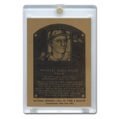Chuck Hafey 1982 Hall of Fame Metallic Plaque Card