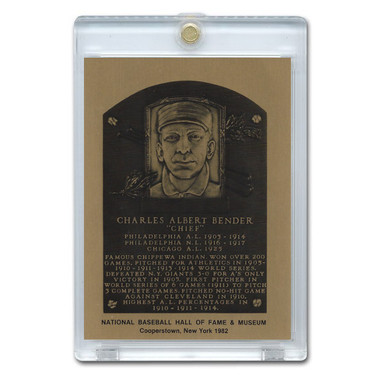 Chief Bender 1982 Hall of Fame Metallic Plaque Card