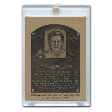 Waite Hoyt 1983 Hall of Fame Metallic Plaque Card
