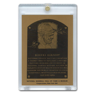 Rogers Hornby 1981 Hall of Fame Metallic Plaque Card