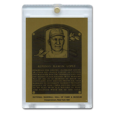 Al Lopez 1981 Hall of Fame Metallic Plaque Card