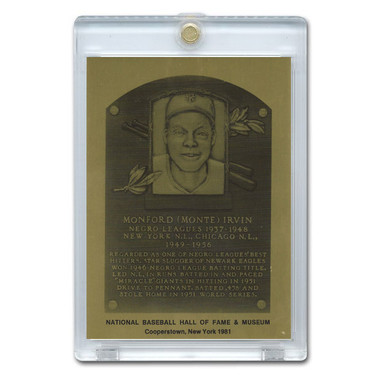 Monte Irvin 1981 Hall of Fame Metallic Plaque Card