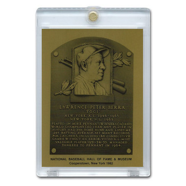 Yogi Berra 1982 Hall of Fame Metallic Plaque Card