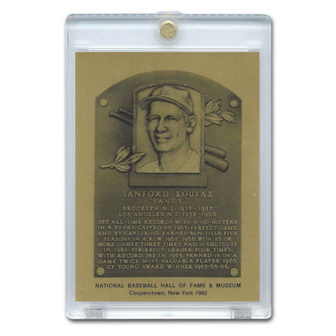 Sandy Koufax 1982 Hall of Fame Metallic Plaque Card