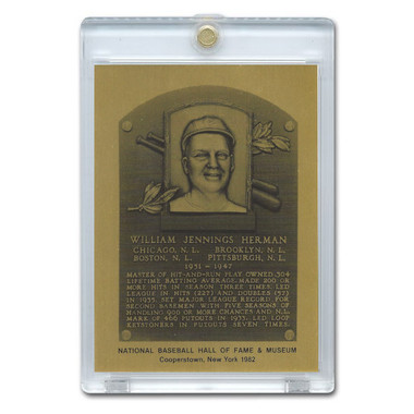 Billy Herman 1982 Hall of Fame Metallic Plaque Card