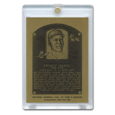 Ernie Banks 1982 Hall of Fame Metallic Plaque Card