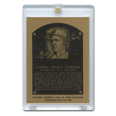 Roberto Clemente 1982 Hall of Fame Metallic Plaque Card