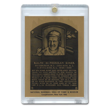 Ralph Kiner 1982 Hall of Fame Metallic Plaque Card