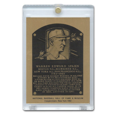 Warren Spahn 1982 Hall of Fame Metallic Plaque Card