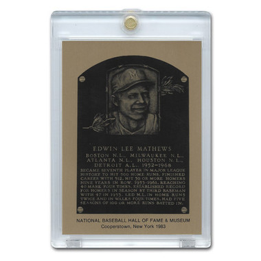 Eddie Mathews 1983 Hall of Fame Metallic Plaque Card