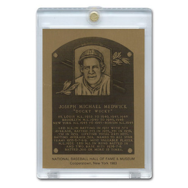 Joe Medwick 1983 Hall of Fame Metallic Plaque Card
