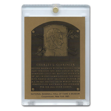 Charlie Gehringer 1983 Hall of Fame Metallic Plaque Card