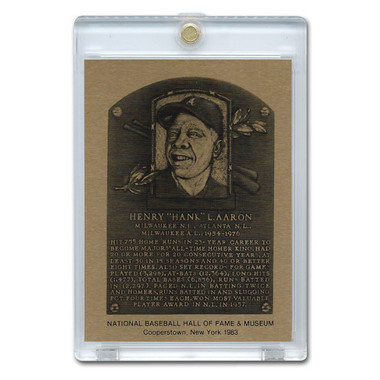 Hank Aaron 1983 Hall of Fame Metallic Plaque Card