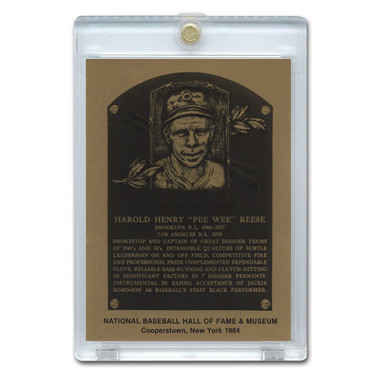Pee Wee Reese 1986 Hall of Fame Metallic Plaque Card