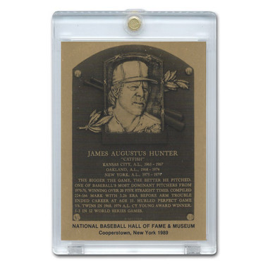 Catfish Hunter 1989 Hall of Fame Metallic Plaque Card