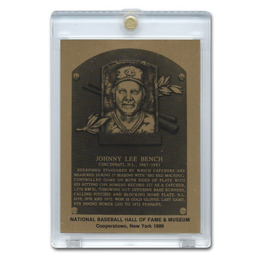 Johnny Bench 1989 Hall of Fame Metallic Plaque Card