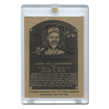Red Schoendienst 1989 Hall of Fame Metallic Plaque Card