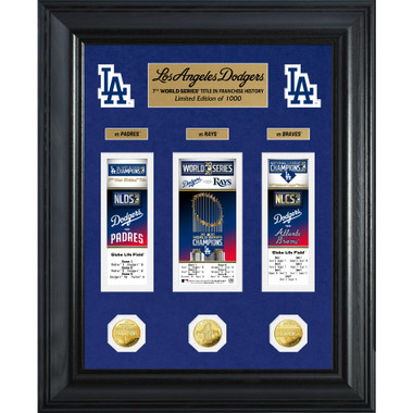 Highland Mint Los Angeles Dodgers 2020 World Series Champions 18 x 22 Deluxe Framed Gold Coin & Ticket Collection