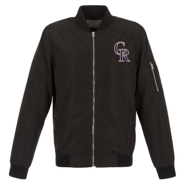 Men's JH Design Colorado Rockies Black Lightweight Nylon Bomber Jacket