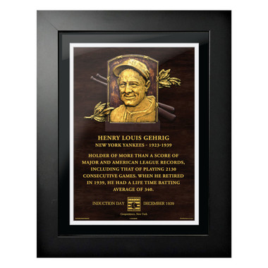Lou Gehrig Baseball Hall of Fame 18 x 14 Framed Plaque Art