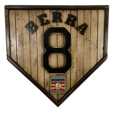 Yogi Berra Hall of Fame Vintage Distressed Wood 17 Inch Legacy Home Plate Ltd Ed of 250