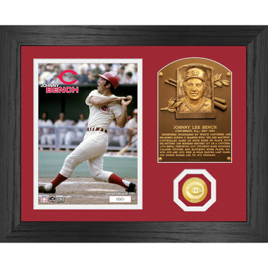 Highland Mint Johnny Bench Hall of Fame Plaque Bronze Coin 13 x 16 Photo Mint