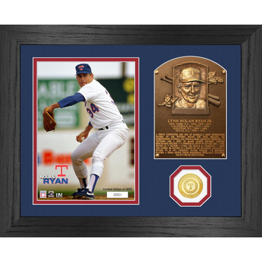 Highland Mint Nolan Ryan Hall of Fame Plaque Bronze Coin 13 x 16 Photo Mint