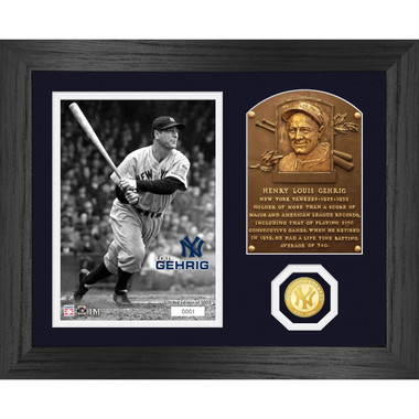 Highland Mint Lou Gehrig Hall of Fame Plaque Bronze Coin 13 x 16 Photo Mint