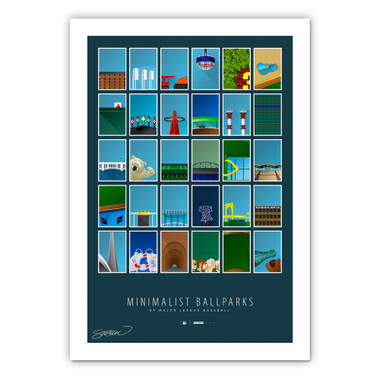 MLB Collage Minimalist Ballpark Collection 14 x 20 Fine Art Print by artist S. Preston